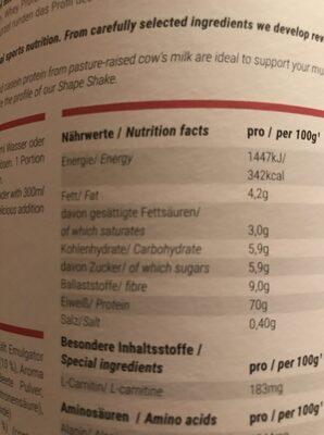 Foodspring Shape Shake - Ingrédients - fr