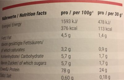 Whey Protein , Himbeere - Informations nutritionnelles - fr