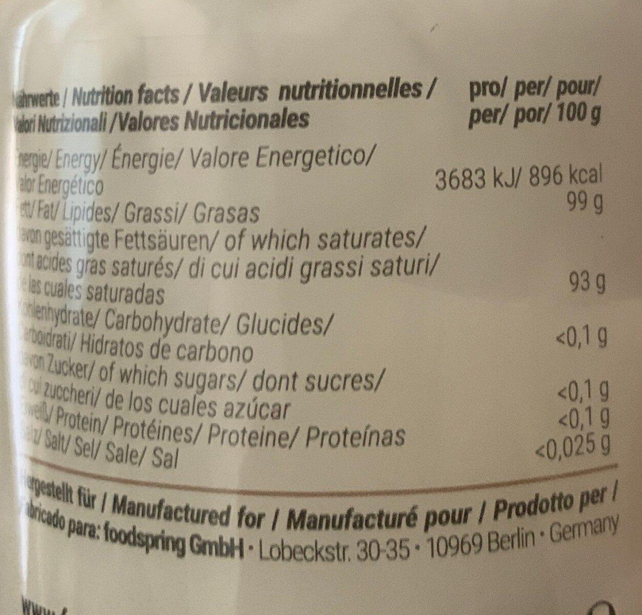 Foodspring Coconut Oil - Informations nutritionnelles - de