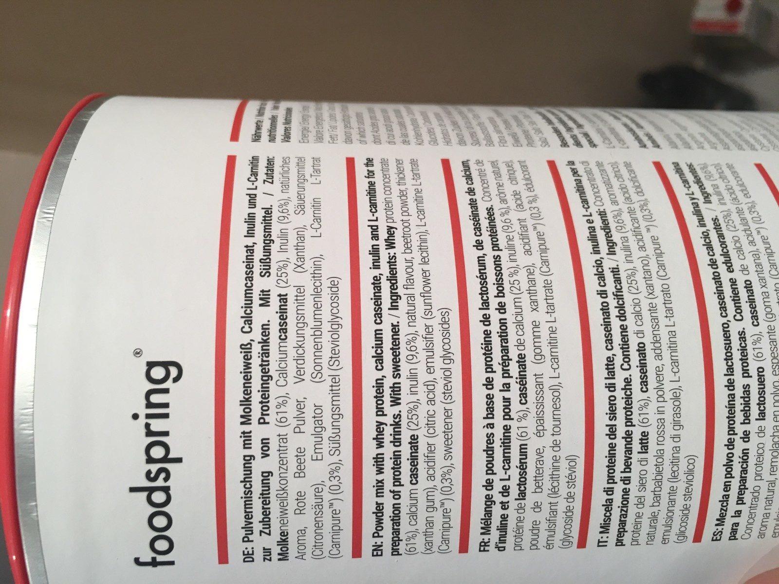 Foodspring - Ingrediënten