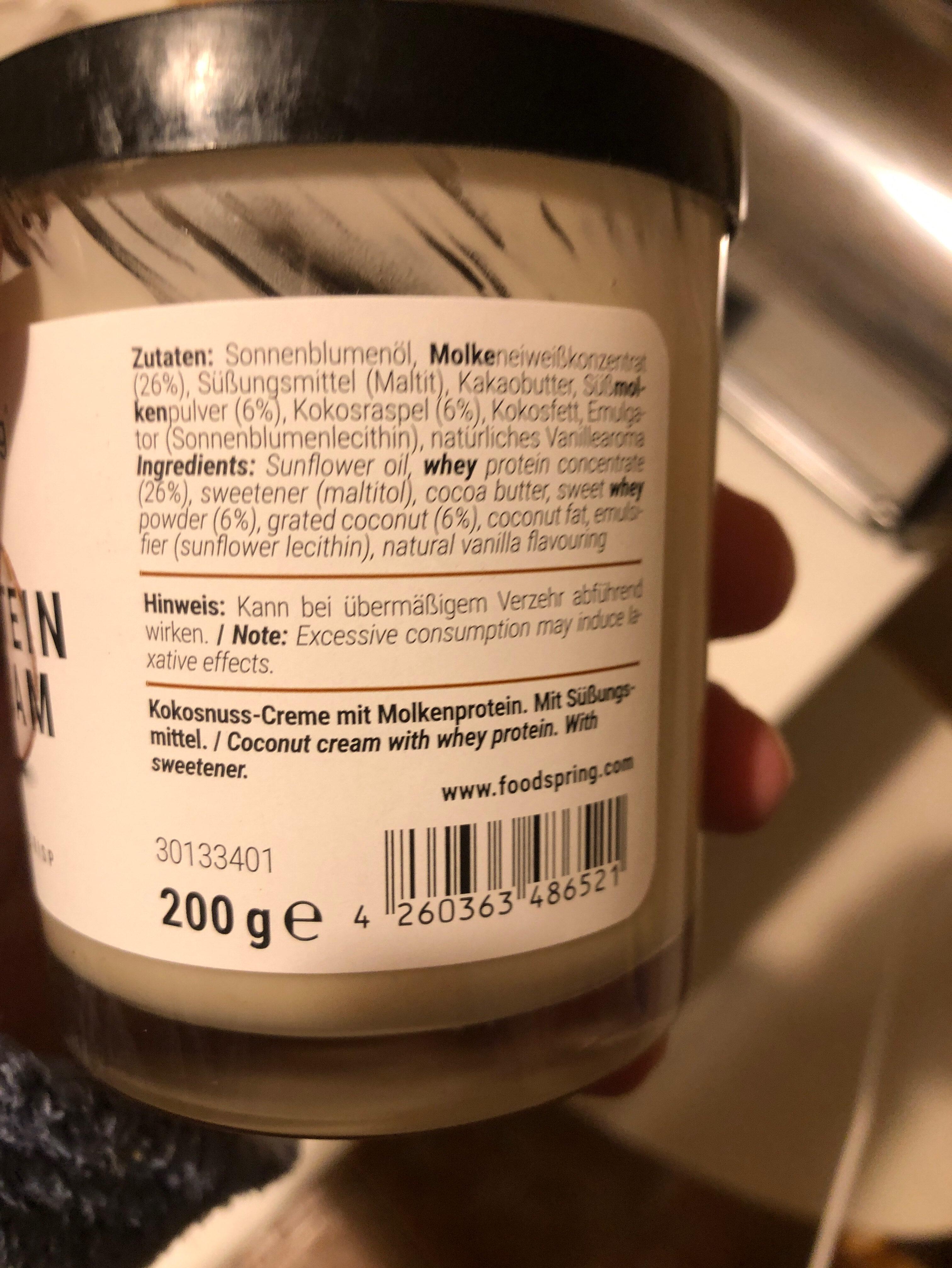 Protein Cream Cocos - Ingrédients