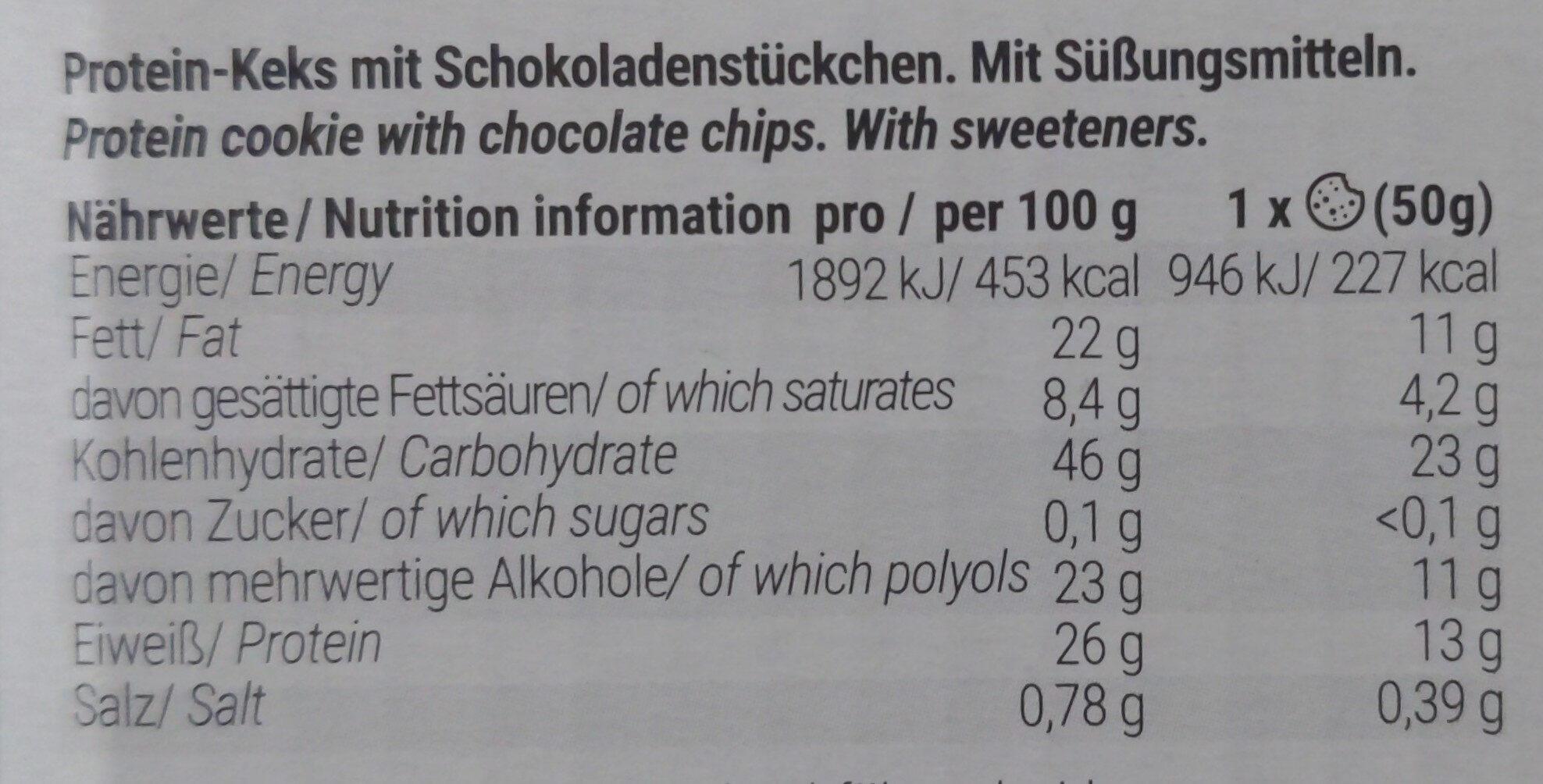 Protein Cookie Chocolate Chip - Nährwertangaben - de