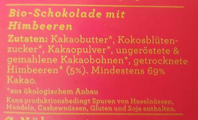 Schokolade Himbeere 69% - Ingrédients - de