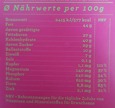 Schokolade Himbeere 69% - Informations nutritionnelles