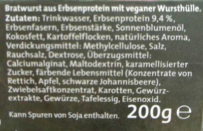 Schinken Bratwurst aus Erbsenprotein - Inhaltsstoffe