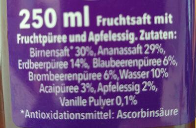 Saft Blaubeeren Birne Acai Brombeeren Vanille - Ingrédients - de