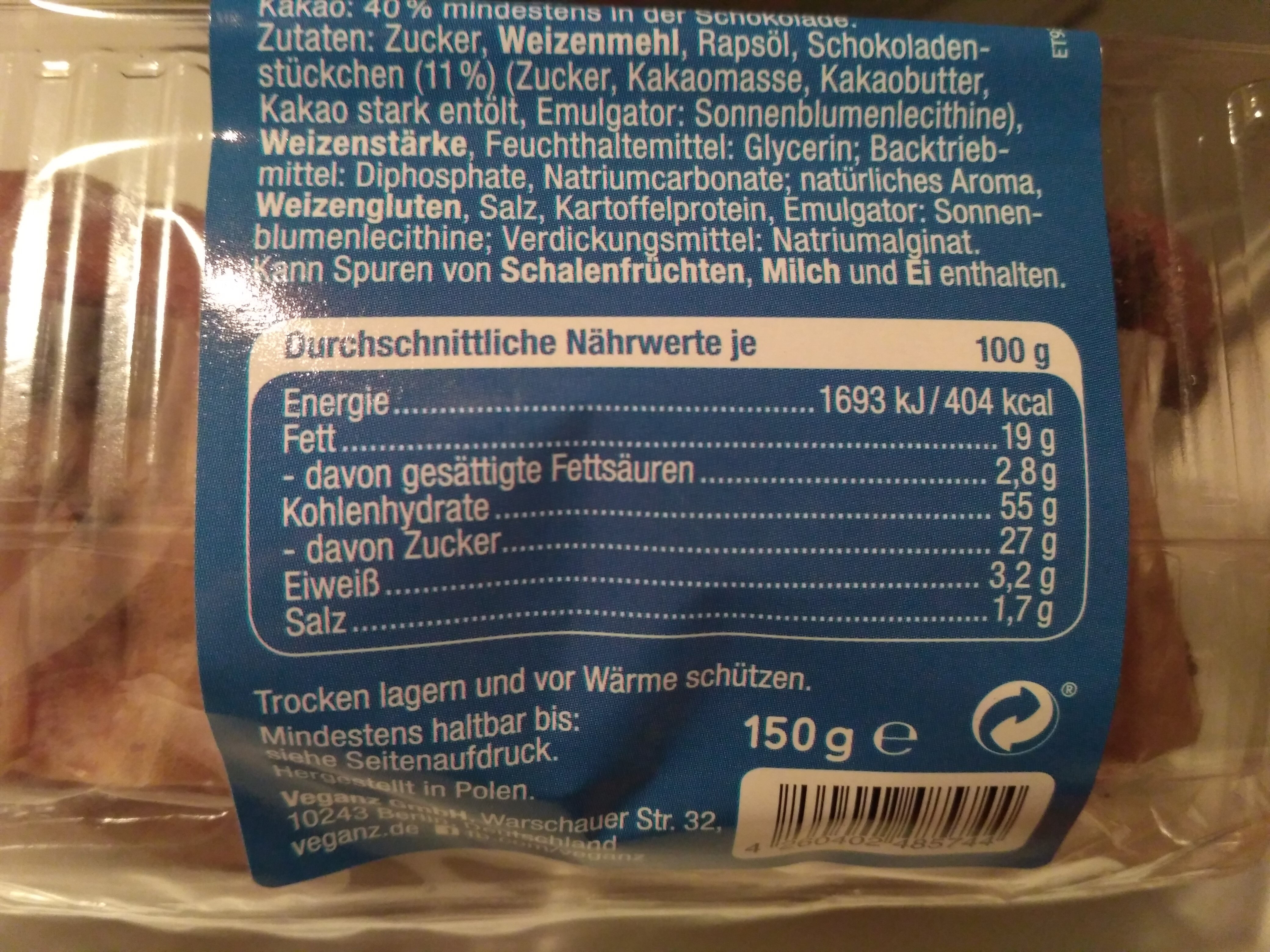 Muffins Chocolate Chip - Nutrition facts