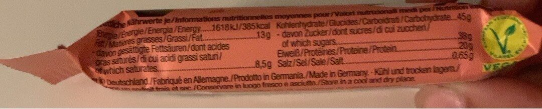 Protein choc bar - Nutrition facts - de