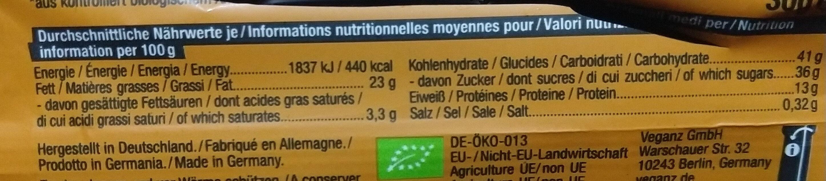 snack bar peanut - Nutrition facts