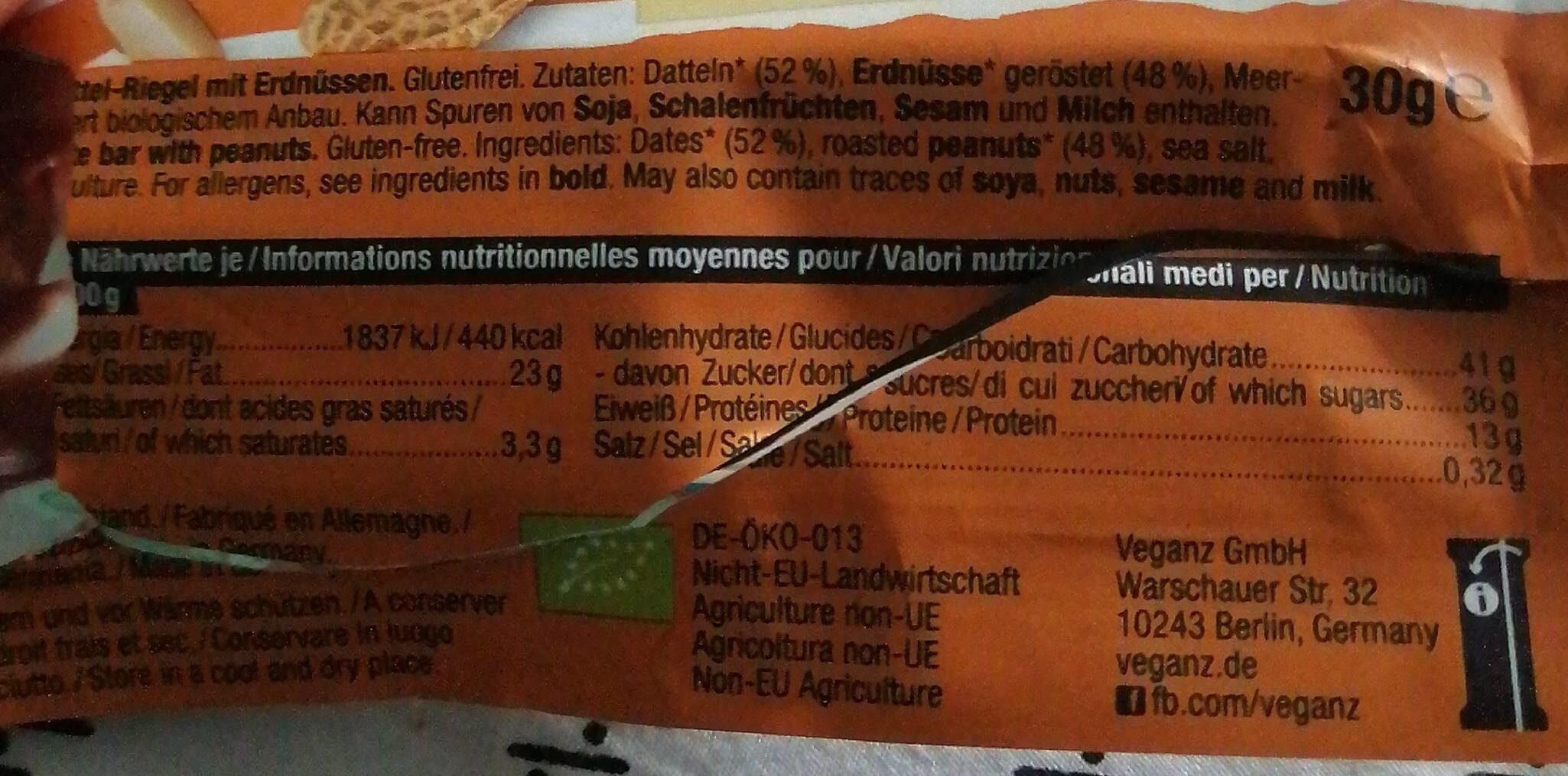 Snack bar Peanut - Nutrition facts - de