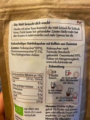 Bio-Kakao & Guarana Pur Ohne Zuckerzusatz - Ingrediënten - de