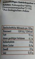 Bio-Kakao & Guarana Pur Ohne Zuckerzusatz - Voedingswaarden - de