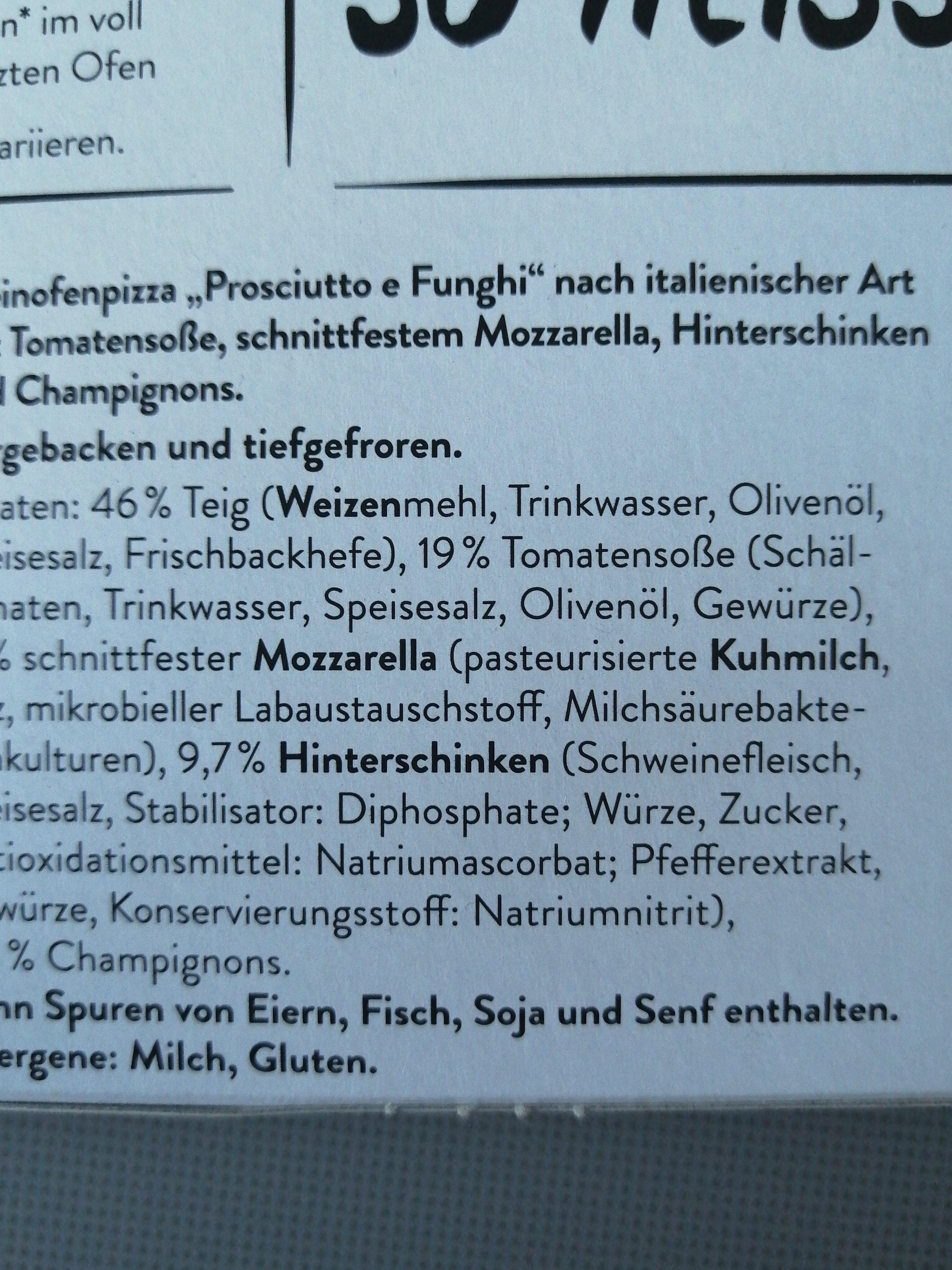 Eine Echete Steinofenbarung - Prosciutto E Funghi - Ingredients