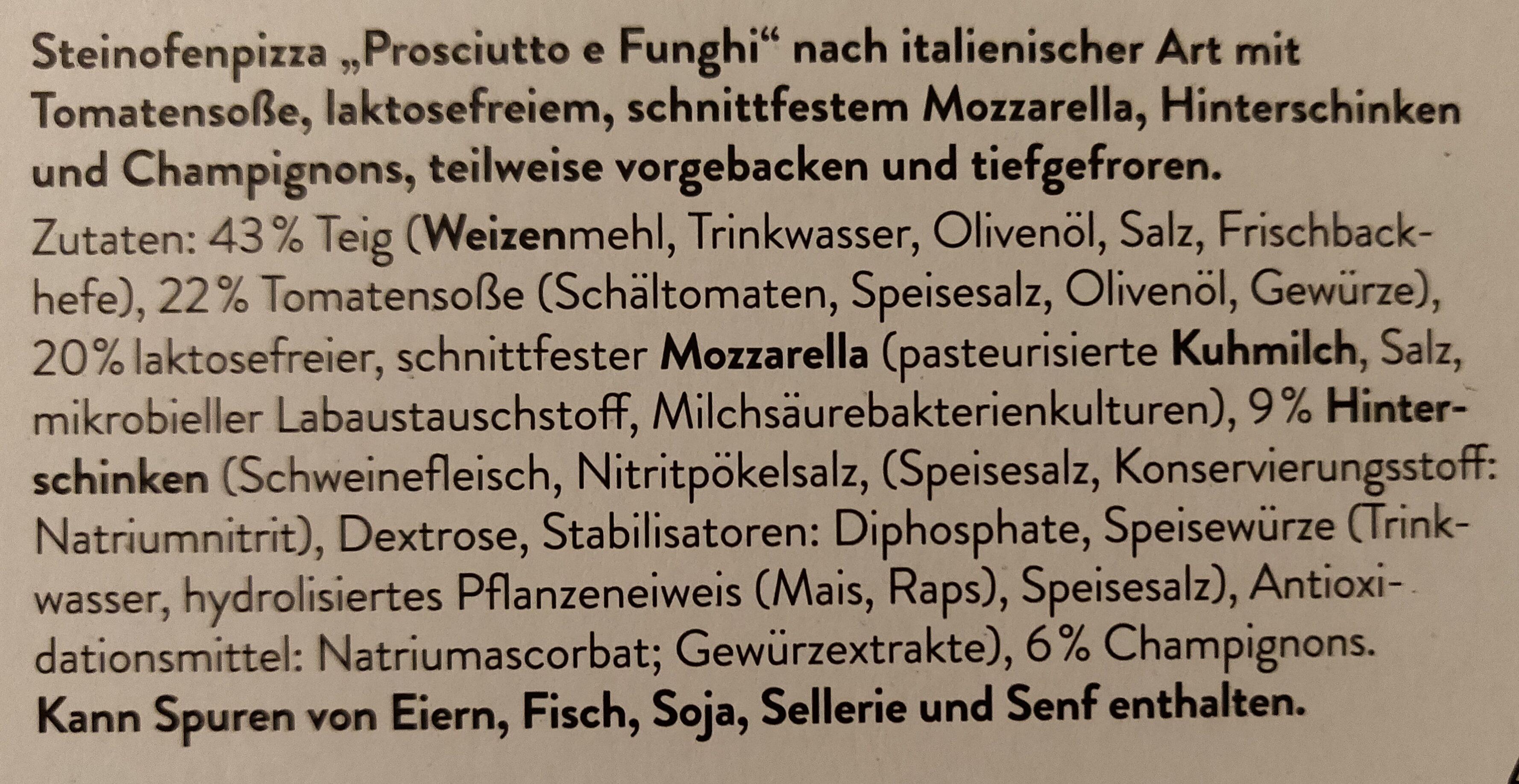 Pizza Prosciutto E Funghi - Ingrédients - de