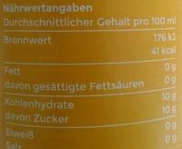 Angeliter Orangenlimonade - Informations nutritionnelles