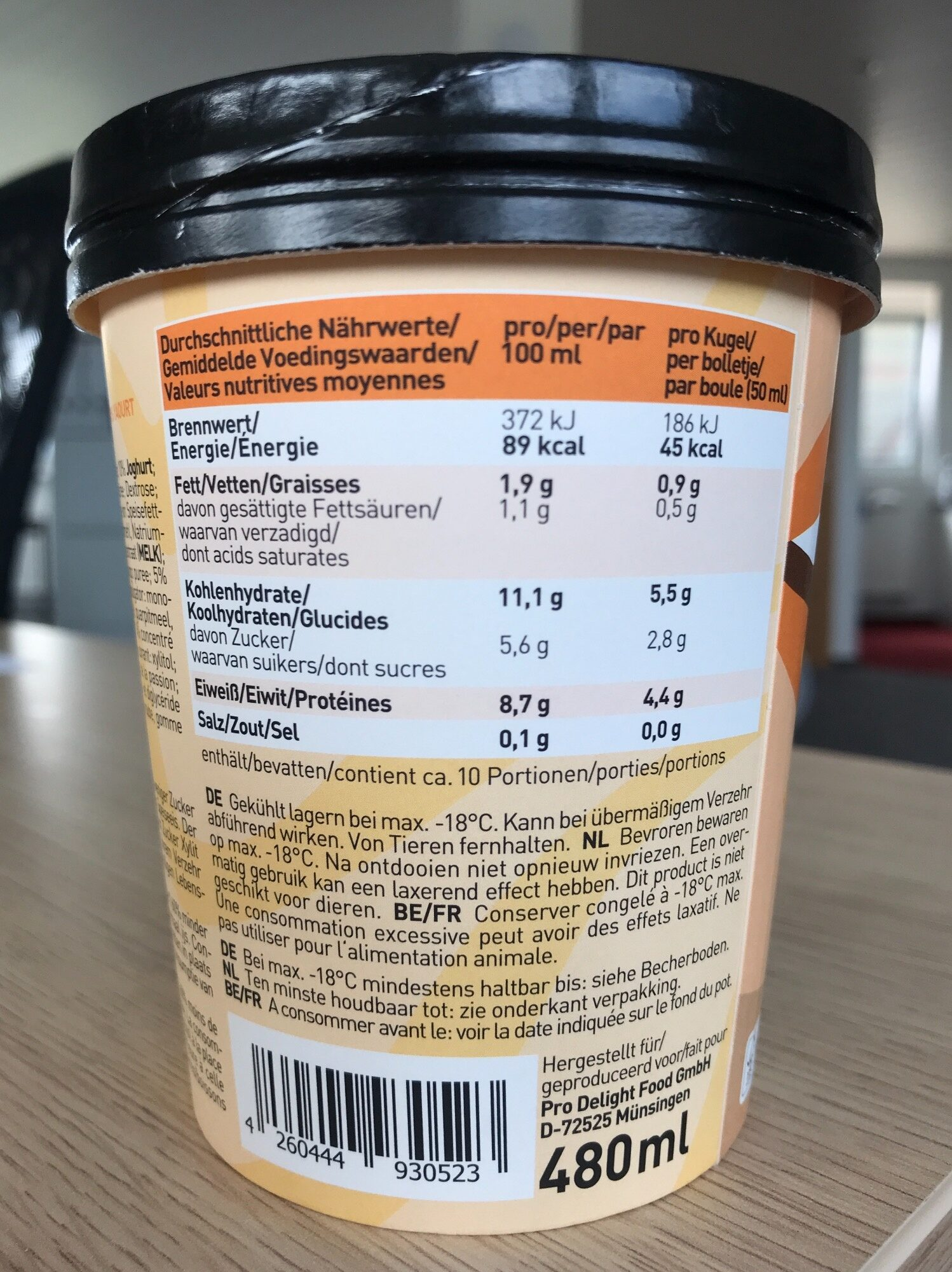 Pro Delight Wild Mango 480 ml - Nutrition facts