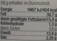 Wild-Leberwurst fein - Nutrition facts - de