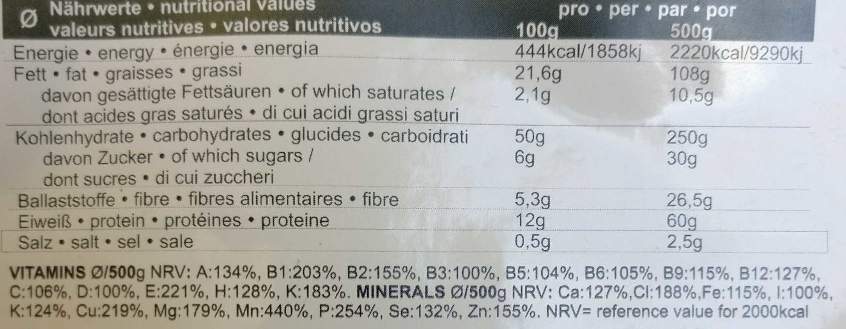 Bertrand Vegan Nature - Informations nutritionnelles