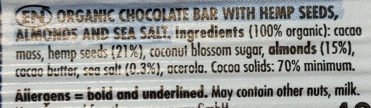 Nu+ cao Almond sea salt - Zutaten - de