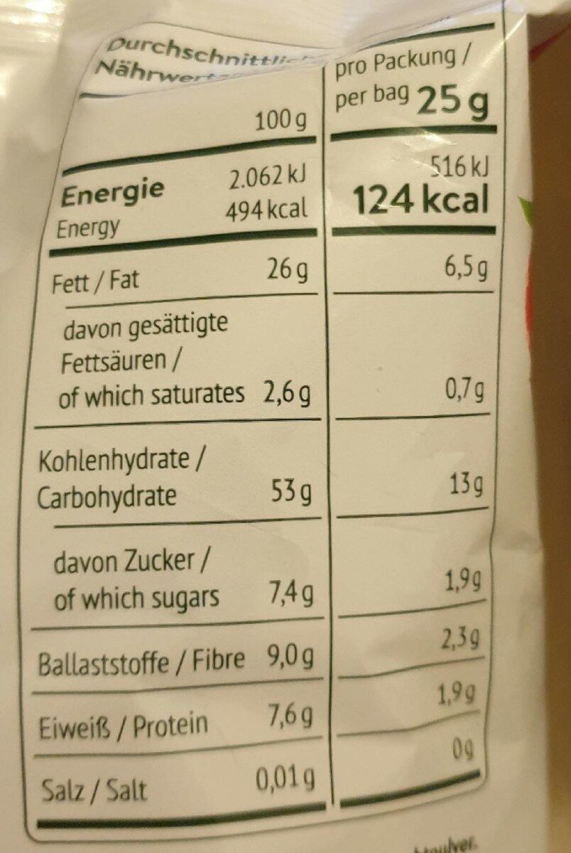 Wildcorn Erdbeere - Valori nutrizionali - de