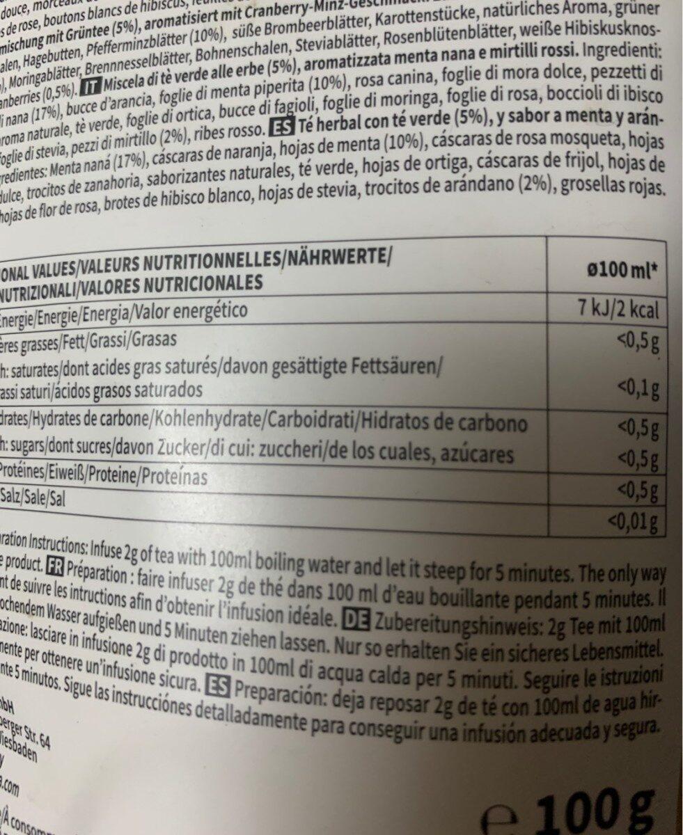 Anticellulite tea - Información nutricional - es