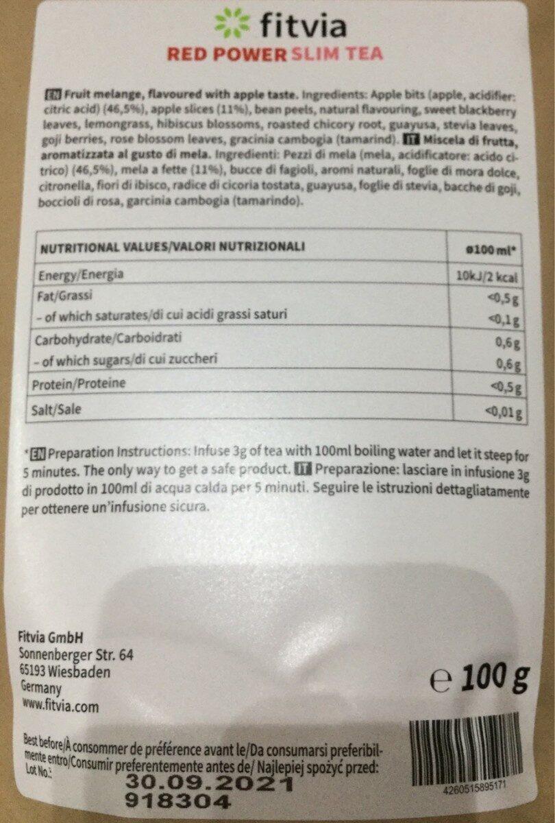 Red power slim tea - Información nutricional - es