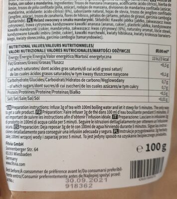 Fitvia mandarine slim tea - Nutrition facts