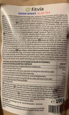 Good night slim tea - Información nutricional - es