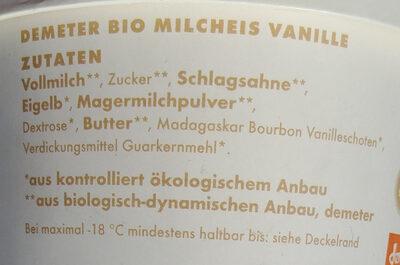 Demeter Bio Milcheis Vanille - Ingrédients