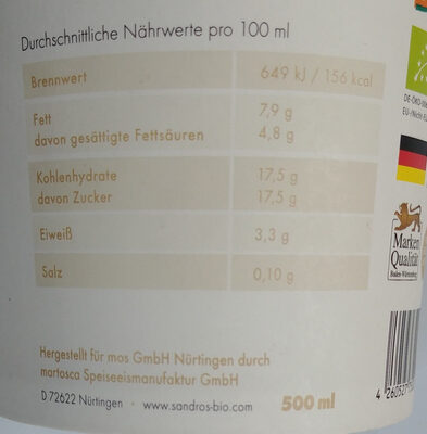 Demeter Bio Milcheis Vanille - Informations nutritionnelles