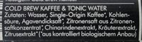 Kold Brew Tonic - Ingredients
