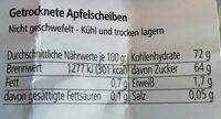 Apfelchips Natur - Informations nutritionnelles - de