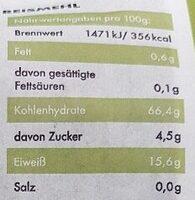 Reispasta Fusilli Nudeln - Informations nutritionnelles - de