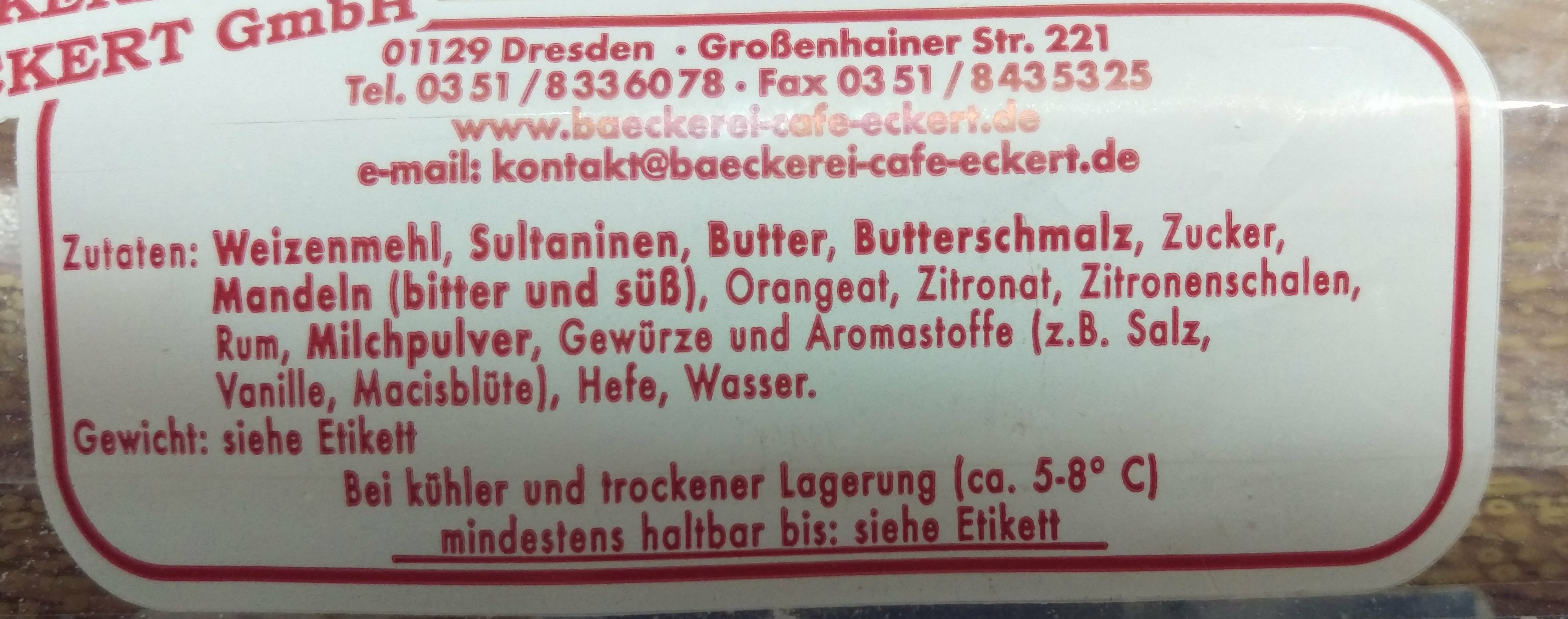 Echter Dresdner Christstollen - Ingrediënten
