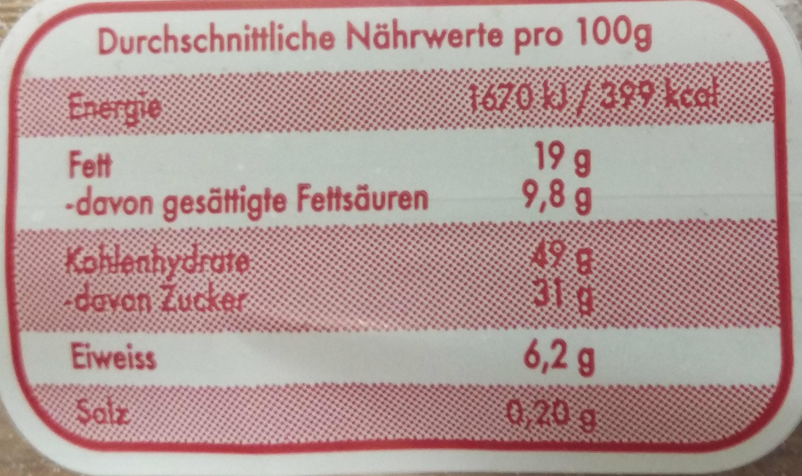 Echter Dresdner Christstollen - Voedingswaarden