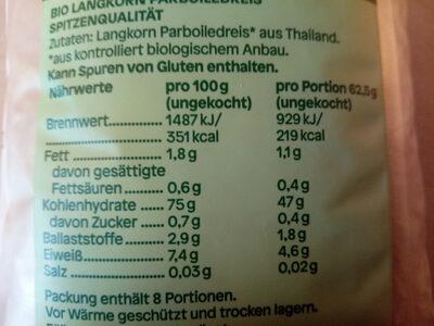 Bio Langkorn Reis - Nutrition facts - de