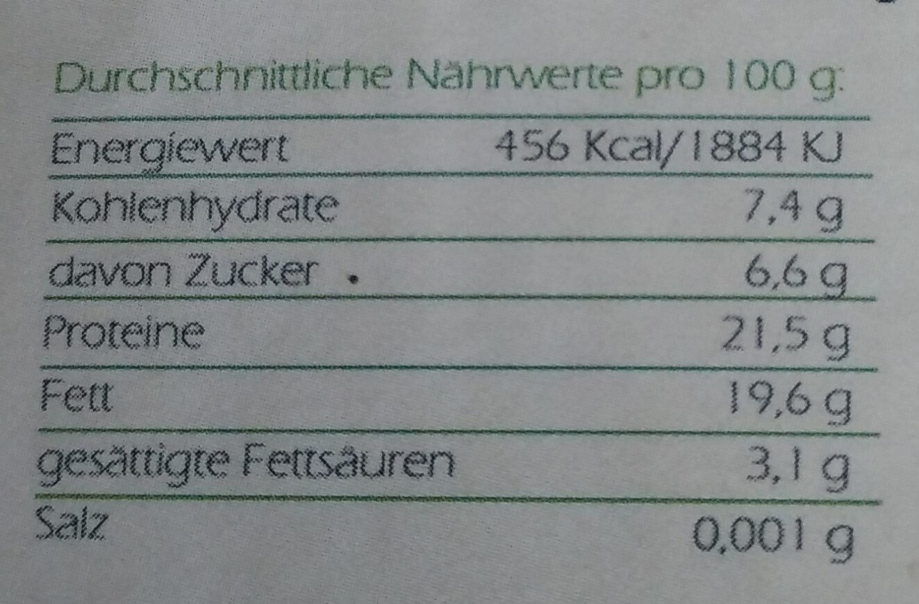 Bio Hanfsamen - Informations nutritionnelles - de