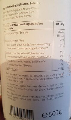 Farine de patate douce - Nutrition facts - fr