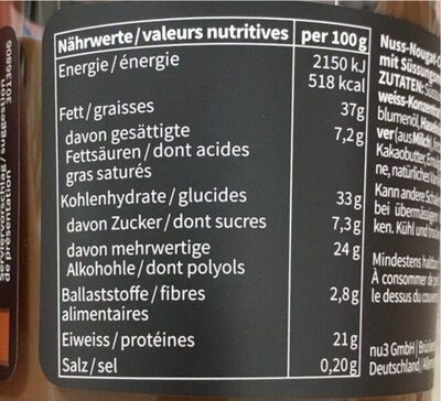 Fit proteine creme - Nutrition facts - fr