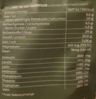 Hanfprotein - Nutrition facts - de