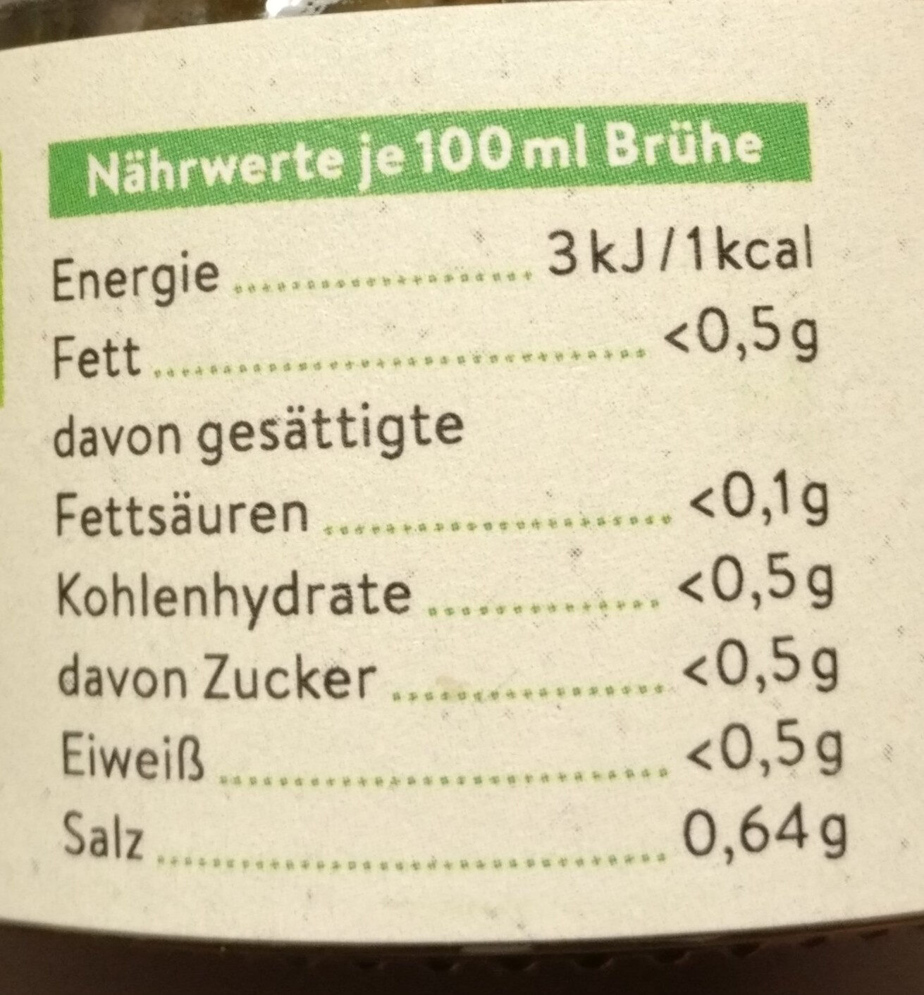 Gemüsebrühe - Nutrition facts - de