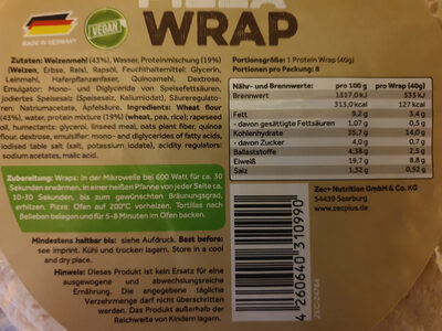 Protein pizza Wrap - Nutrition facts - de