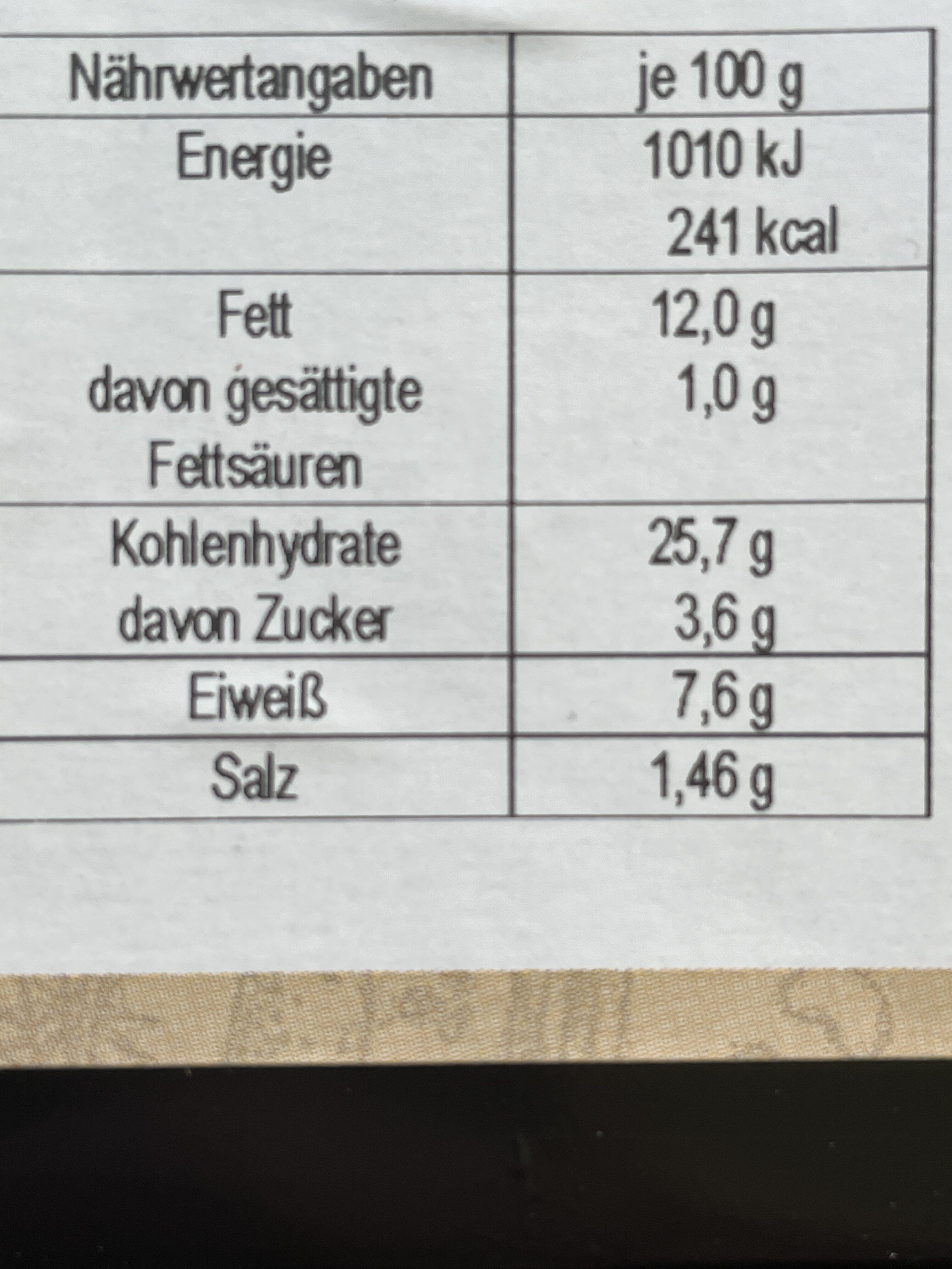 Habibis - Kirchererbsenbällchen mit Kräutern - Informations nutritionnelles - de