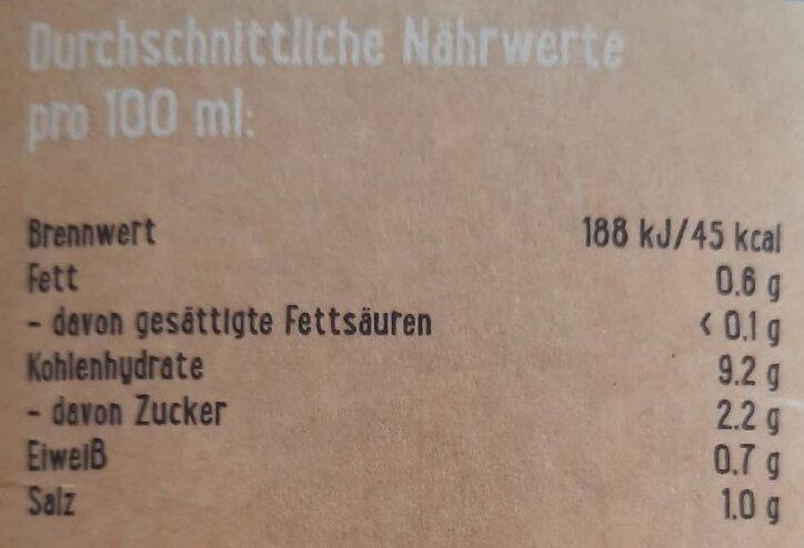 Hafer Drink - Der Milde - Nährwertangaben - de