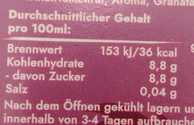BraTee Granatapfel - Nährwertangaben - de