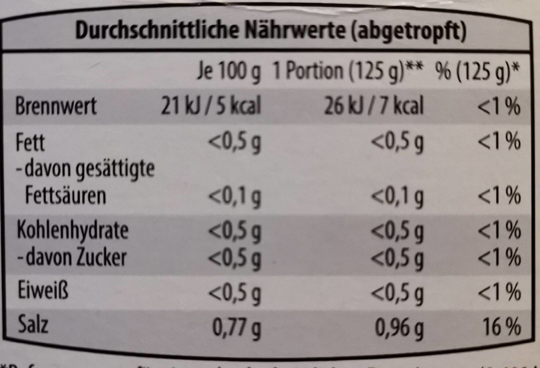 5-Kalorien-Nudeln - Nutrition facts - en