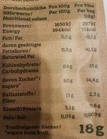 Fruchtpapier Apfel & Mango - Nutrition facts