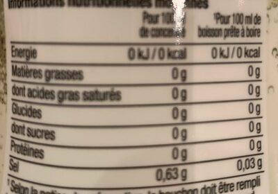 Concentré saveur Limonade Zéro - Informations nutritionnelles - fr