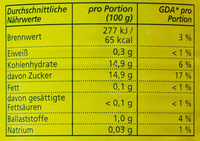 Ananas Scheiben - Valori nutrizionali - de
