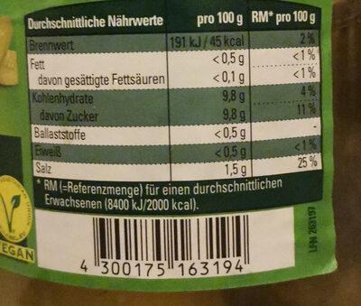 Gurkensticks Würzig-Pikant - Nutrition facts - de